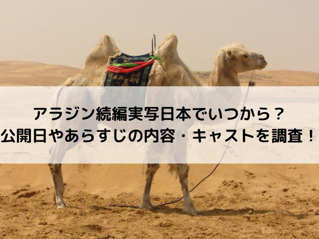 アラジン続編実写日本でいつから?公開日やあらすじの内容・キャストを調査!